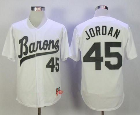 Men's Chicago White Sox Birmingham Barons #45 Michael Jordan White Stitched Majestic Baseball Jersey