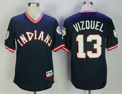 Men's Cleveland Indians #13 Omar Vizquel Retired Navy Blue Pullover Stitched MLB Majestic Flex Base Jersey