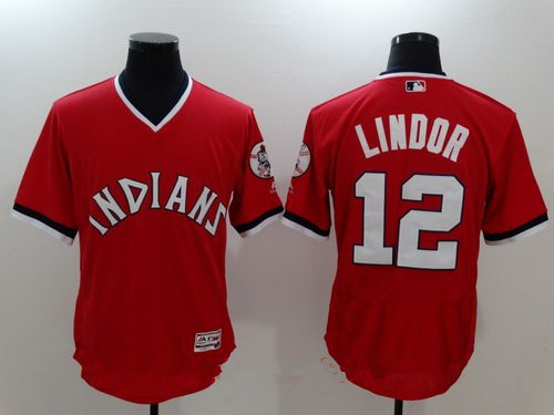 Men's Cleveland Indians #12 Francisco Lindor Red Pullover Stitched MLB Majestic Flex Base Jersey