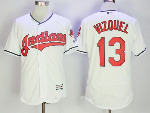 Men's Cleveland Indians #13 Omar Vizquel Retired White Home Stitched MLB Majestic Flex Base Jersey