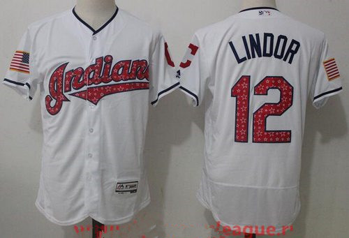 Men's Cleveland Indians #12 Francisco Lindor White 2017 Stars & Stripes Stitched MLB Majestic Flex Base Jersey