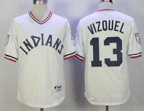 Men's Cleveland Indians #13 Omar Vizquel Retired White Cooperstown Collection Stitched MLB Majestic Cool Base Jersey