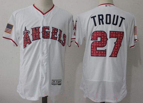 Men's Los Angeles Angels Of Anaheim #27 Mike Trout White 2017 Independence Stars & Stripes Stitched MLB Majestic Flex Base Jersey