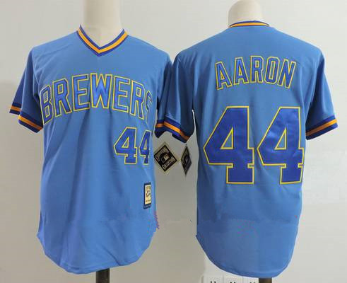 Men's Milwaukee Brewers #44 Hank Aaron Light Blue Pullover Throwback Cooperstown Collection Stitched MLB Mitchell & Ness Jersey
