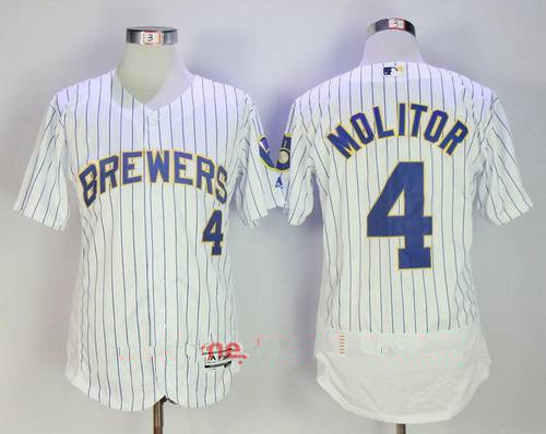 Men's Milwaukee Brewers #4 Paul Molitor Retired White Pinstripe Stitched MLB Majestic Flex Base Jersey
