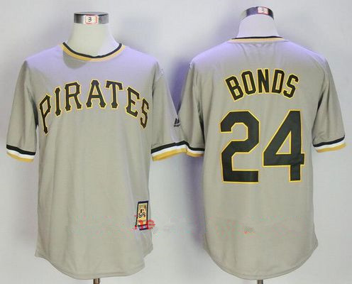 Men's Pittsburgh Pirates #24 Barry Bonds Gray Pullover Stitched MLB Majestic Cooperstown Collection Jersey