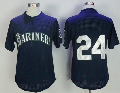 Men's Seattle Mariners #24 Ken Griffey Jr. Navy Blue Throwback Mesh Batting Practice Stitched MLB Mitchell & Ness Jersey