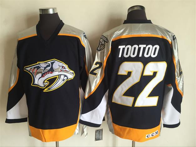 Men's Nashville Predators #22 Jordin Tootoo Navy Blue 1998-99 Throwback Stitched NHL CCM Vintage Hockey Jersey
