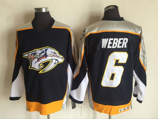 Men's Nashville Predators #6 Shea Weber Navy Blue 1998-99 Throwback Stitched NHL CCM Vintage Hockey Jersey