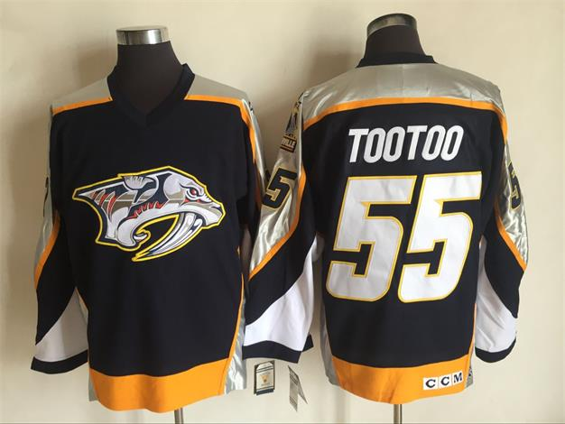 Men's Nashville Predators #55 Jordin Tootoo Navy Blue 1998-99 Throwback Stitched NHL CCM Vintage Hockey Jersey