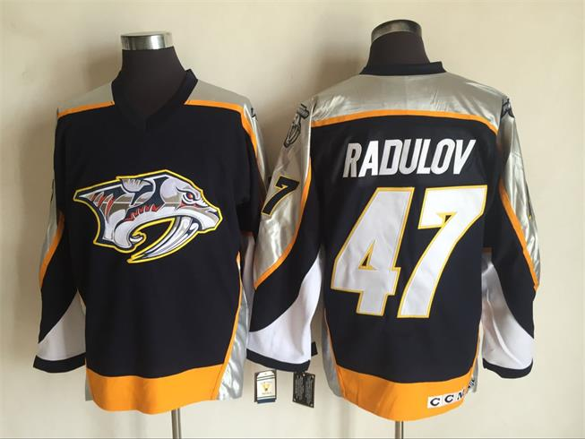 Men's Nashville Predators #47 Alexander Radulov Navy Blue 1998-99 Throwback Stitched NHL CCM Vintage Hockey Jersey