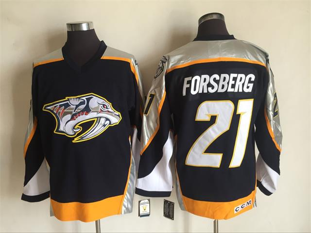 Men's Nashville Predators #21 Filip Forsberg Navy Blue 1998-99 Throwback Stitched NHL CCM Vintage Hockey Jersey
