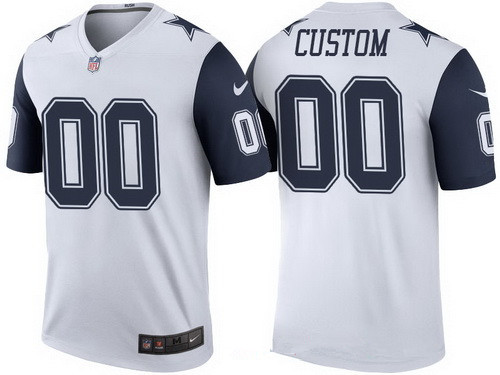 Men's Dallas Cowboys White Custom Color Rush Legend NFL Nike Limited Jersey