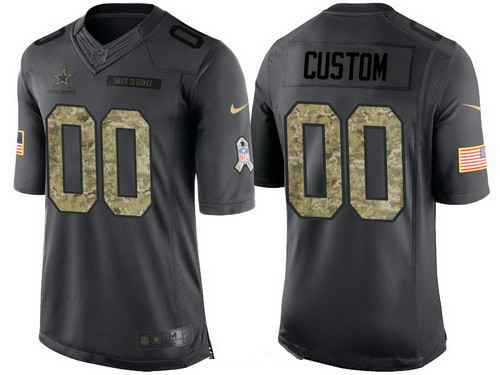 Men's Dallas Cowboys Custom Anthracite Camo 2016 Salute To Service Veterans Day NFL Nike Limited Jersey