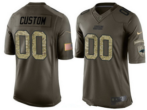 Men's Carolina Panthers Custom Olive Camo Salute To Service Veterans Day NFL Nike Limited Jersey