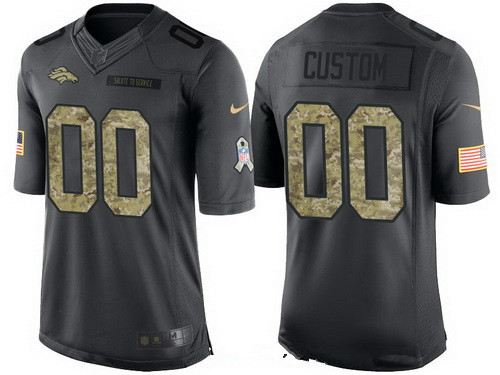 Men's Denver Broncos Custom Anthracite Camo 2016 Salute To Service Veterans Day NFL Nike Limited Jersey