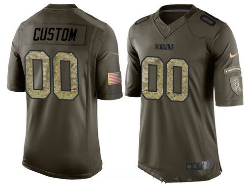 Men's Green Bay Packers Custom Olive Camo Salute To Service Veterans Day NFL Nike Limited Jersey