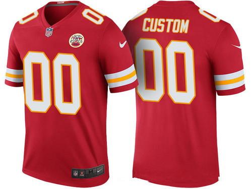 Men's Kansas City Chiefs Red Custom Color Rush Legend NFL Nike Limited Jersey