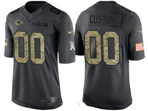 Men's Kansas City Chiefs Custom Anthracite Camo 2016 Salute To Service Veterans Day NFL Nike Limited Jersey