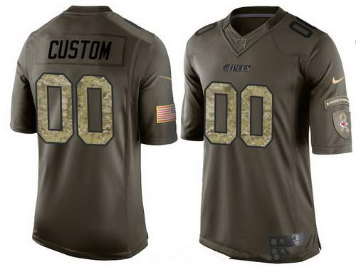 Men's Kansas City Chiefs Custom Olive Camo Salute To Service Veterans Day NFL Nike Limited Jersey