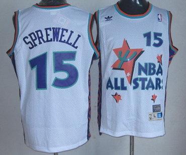 NBA 1995 All-Star #15 Latrell Sprewell White Hardwood Classics Soul Swingman Throwback Jersey