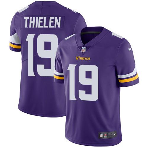 Nike Minnesota Vikings #19 Adam Thielen Purple Team Color Men's Stitched NFL Vapor Untouchable Limited Jersey