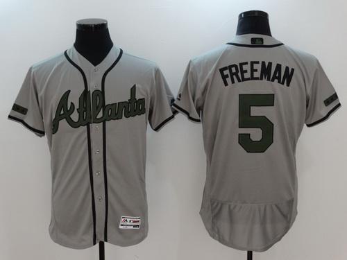 Men's Atlanta Braves #5 Freddie Freeman Gray With Green Memorial Day Stitched MLB Majestic Flex Base Jersey