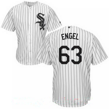 Men's Chicago White Sox #63 Adam Engel White Home Stitched MLB Majestic Cool Base Jersey