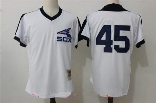 Men's Chicago White Sox #45 Michael Jordan White Throwback Mesh Batting Practice Stitched MLB Mitchell & Ness Jersey