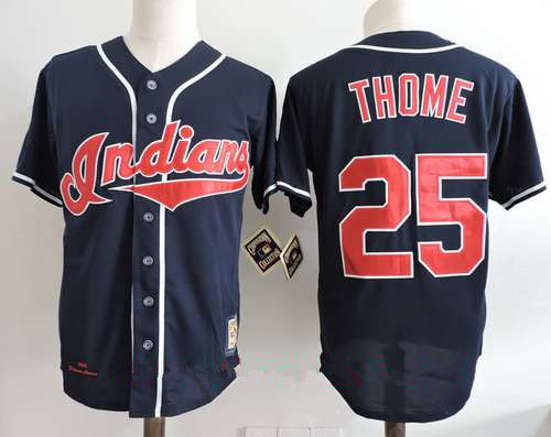Men's Cleveland Indians #25 Jim Thome Navy Blue Throwback 1995 World Series Patch Stitched MLB Cooperstown Collection Jersey