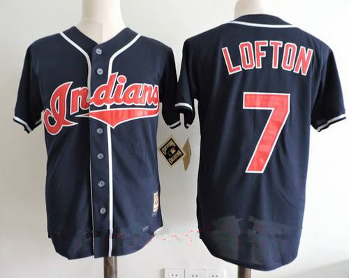 Men's Cleveland Indians #7 Kenny Lofton Navy Blue Throwback 1995 World Series Patch Stitched MLB Cooperstown Collection Jersey