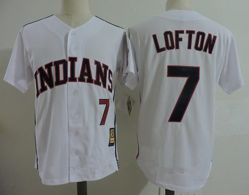 Men's Cleveland Indians #7 Kenny Lofton White Home Stitched MLB Majestic Cool Base Cooperstown Collection Jersey