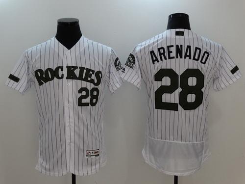 Men's Colorado Rockies #28 Nolan Arenado White With Green Memorial Day Stitched MLB Majestic Flex Base Jersey