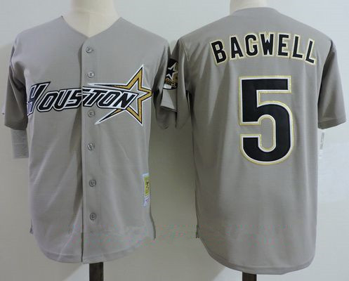 Men's Houston Astros #5 Jeff Bagwell Gray Road 1997 Throwback Cooperstown Collection Stitched MLB Mitchell & Ness Jersey