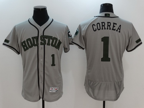 Men's Houston Astros #1 Carlos Correa Gray With Green Memorial Day Stitched MLB Majestic Flex Base Jersey