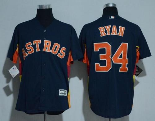 Men's Houston Astros #34 Nolan Ryan Retired Navy Blue Stitched MLB Majestic Cool Base Jersey