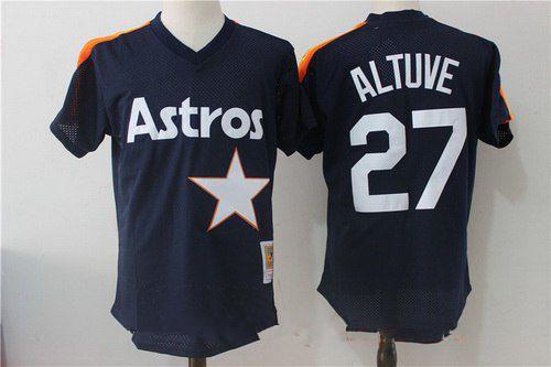 Men's Houston Astros #27 Jose Altuve Navy Blue Throwback Mesh Batting Practice Stitched MLB Mitchell & Ness Jersey