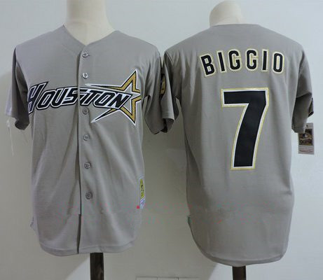 Men's Houston Astros #7 Craig Biggio Gray Road 1997 Throwback Cooperstown Collection Stitched MLB Mitchell & Ness Jersey