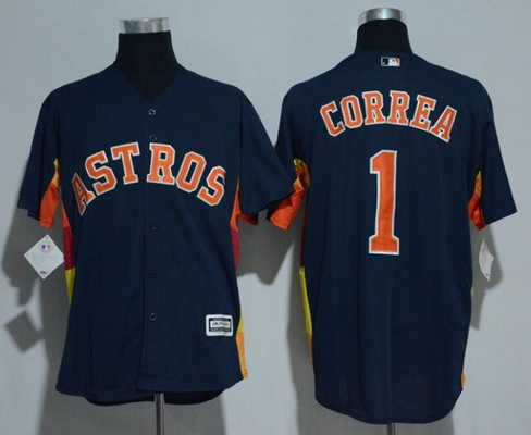 Men's Houston Astros #1 Carlos Correa Navy Blue Stitched MLB Majestic Cool Base Jersey