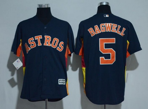 Men's Houston Astros #5 Jeff Bagwell Retired Navy Blue Stitched MLB Majestic Cool Base Jersey