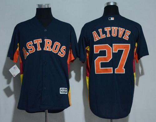 Men's Houston Astros #27 Jose Altuve Navy Blue Stitched MLB Majestic Cool Base Jersey