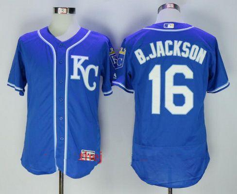 Men's Kansas City Royals #16 Bo Jackson Retired Royal Blue KC Stitched MLB Majestic Flex Base Jersey