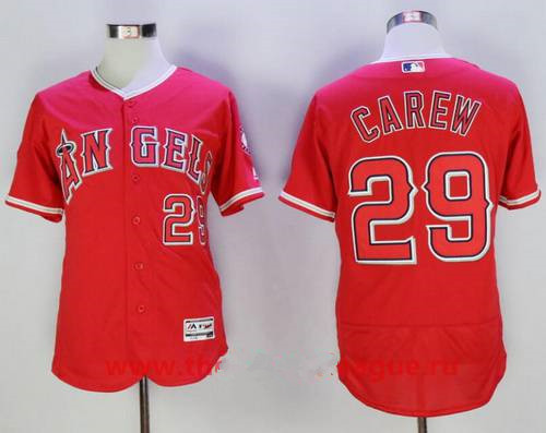Men's Los Angeles Angels Of Anaheim #29 Rod Carew Retired Red Stitched MLB Majestic Flex Base Jersey