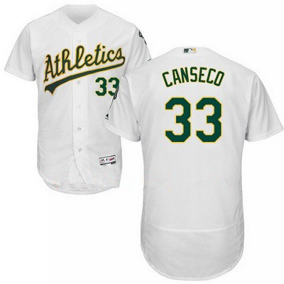 Men's Majestic Oakland Athletics #33 Jose Canseco White Flexbase Authentic Collection MLB Jersey