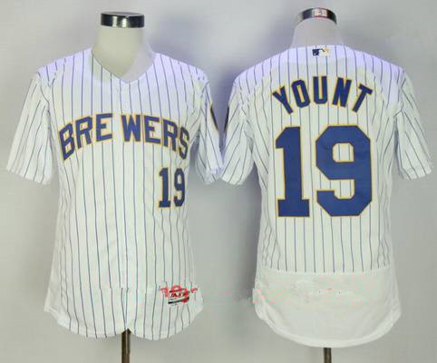 Men's Milwaukee Brewers #19 Robin Yount Retired White Pinstripe Stitched MLB Majestic Flex Base Jersey