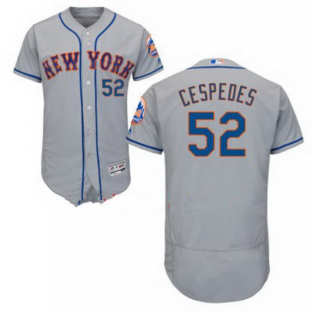 Men's New York Mets #52 Yoenis Cespedes Gray Road Stitched MLB Majestic Flex Base Jersey