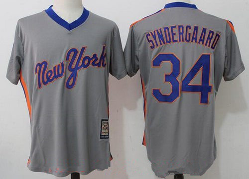 Men's New York Mets #34 Noah Syndergaard Gray Pullover Stitched MLB Majestic Cooperstown Collection Jersey