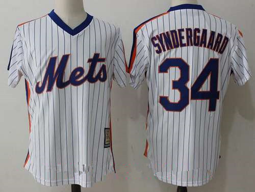 Men's New York Mets #34 Noah Syndergaard White Pullover Stitched MLB Majestic Cooperstown Collection Jersey