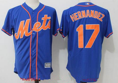 Men's New York Mets #17 Keith Hernandez Retired Royal Blue with Orange Stitched MLB Majestic Cool Base Jersey