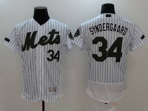 Men's New York Mets #34 Noah Syndergaard White with Green Memorial Day Stitched MLB Majestic Flex Base Jersey
